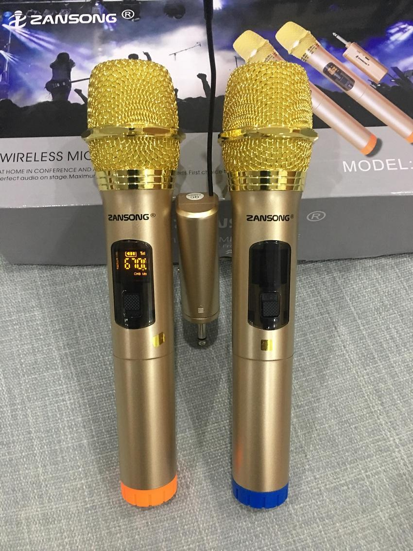 Bộ 2 micro không dây ZANSONG sóng UHF Wireless dành cho Amly , loa kéo loa karaoke bluetooth JBZ, SANSUI, ZANSONG, DAILE, ISKY, JBL,... - Micro không dây giá rẻ - Hỗ trợ các thiết bị có jack cắm 3.5mm và 6.5mm [Tặng 2 chống lắn mic+04 viên pin]