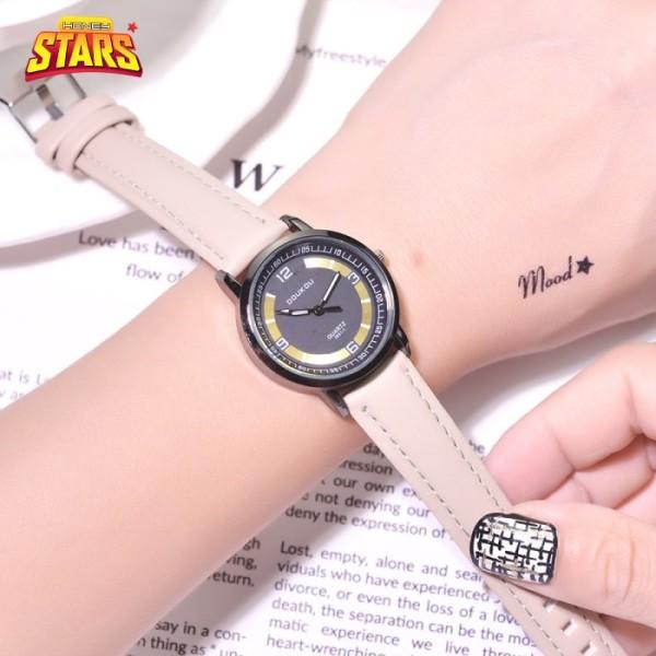 Đồng hồ nữ chống nước cá tính dây da đẹp sang trọng giá rẻ viền vàng mặt Honey Start 492373 bán chạy
