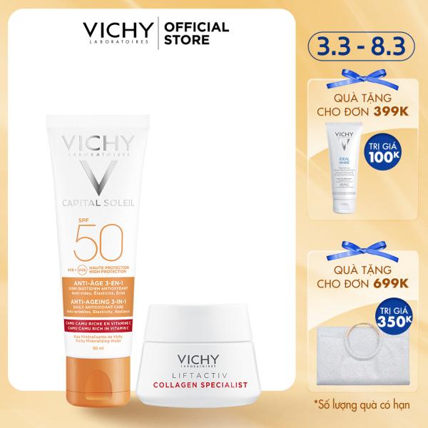 Bộ kem chống nắng ngăn ngừa các dấu hiệu lão hóa Vichy Capital Soleil Anti-Age giá rẻ