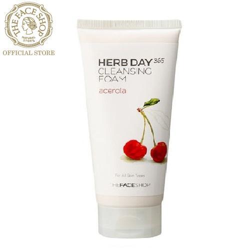 THEFACESHOP - Sữa Rửa Mặt Làm Sáng Da Herb Day 365 Cleansing Foam Acerola (2018) 170ML nhập khẩu
