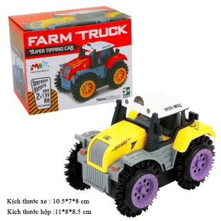 Xe ô tô đồ chơi chạy pin,xe tải nông trại cho bé, chạy bằng pin tiểu (màu vàng bánh tím-chưa kèm pin) nhựa ABS an toàn thumbnail