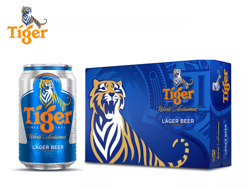 Bia tiger thường thùng 24 lon 330 ml