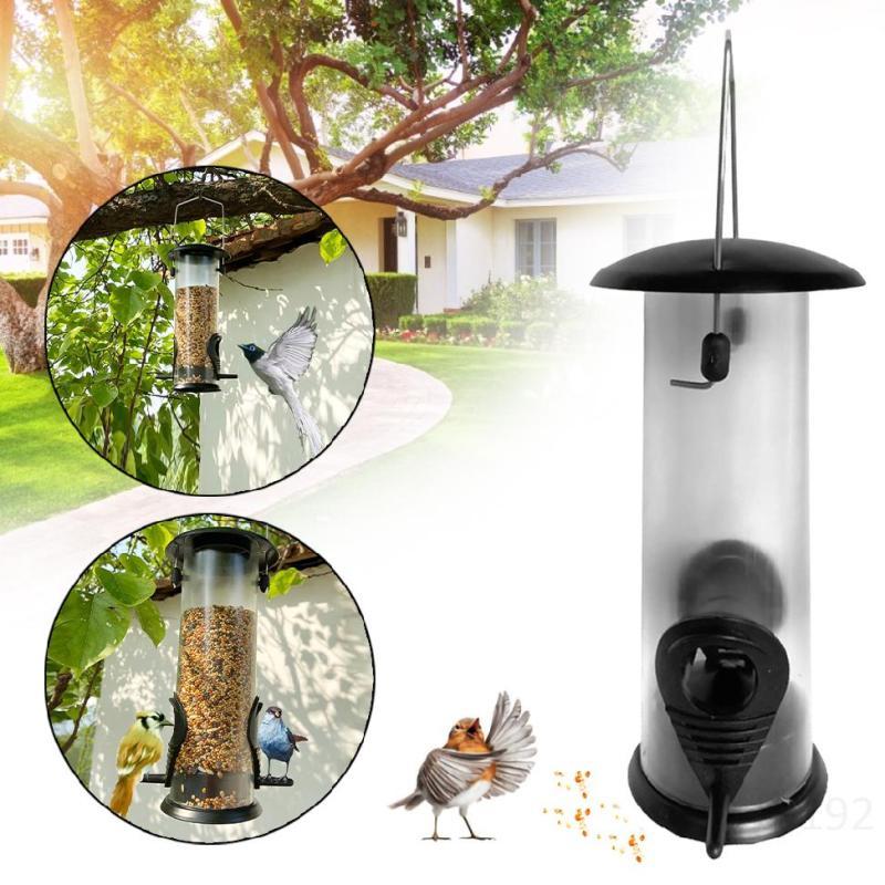 Bird Feeder Hanging Outdoor Pet Bird Seed Food Feeder Tree Garden Snack Bucket Rack Bird Feeder ZbiXmY3G
