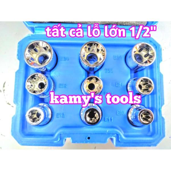 Bộ Tuýp E 9 Cục Thép lỗ 1/2 Chrome Vanadium E10-E24, Bộ Khẩu E, Đầu Khẩu E