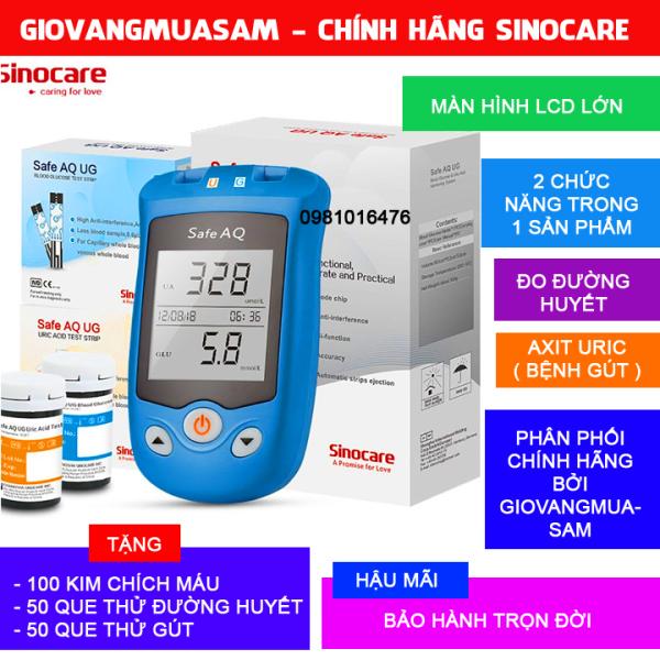 Nơi bán Máy đo đường huyết, Axit Uric 2 trong 1 Sinocare Safe AQ UG Tặng kèm 50 que thử đường huyết và 50 que thử Axit Uric