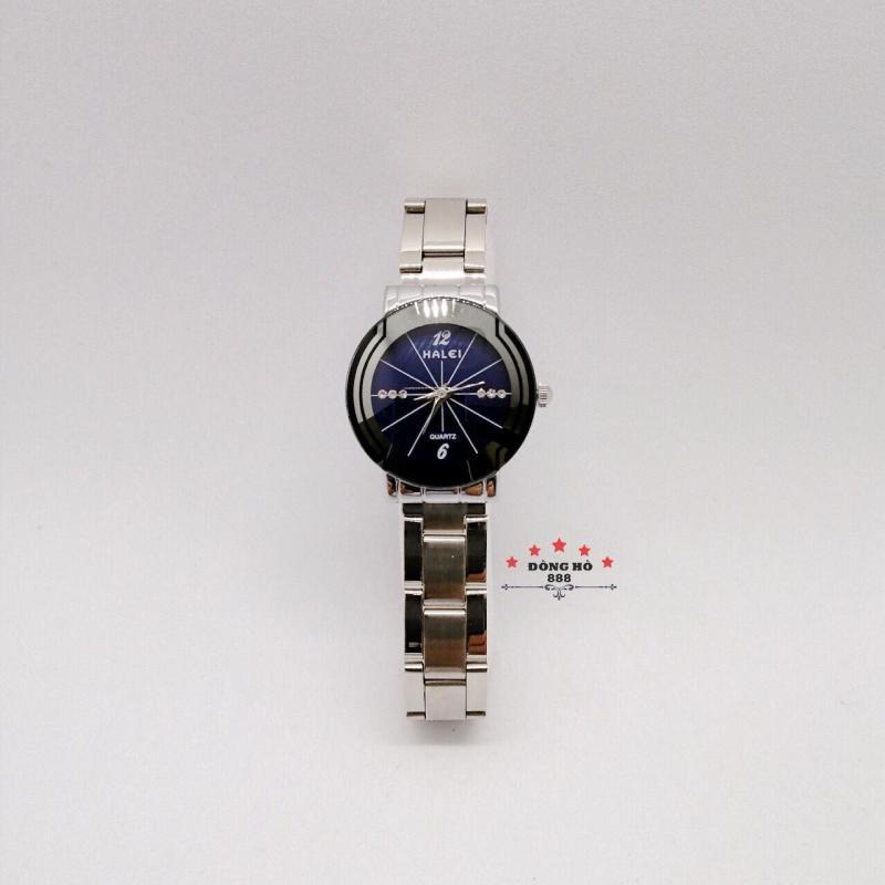 Đồng hồ nữ HALEI dây kim loại thời thượng ( HL457 dây trắng mặt xanh ) - TẶNG 1 vòng tỳ hưu phong thuỷ