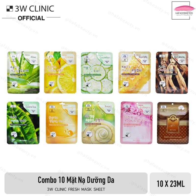 Combo 10 Mặt nạ dưỡng da 3W CLinic Fresh Mask Sheet 23ml x10 giá rẻ