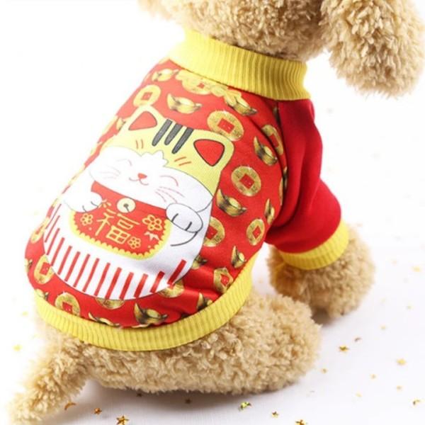 Áo Thun Cho Chó Mèo Hình Mèo Thần Tài làm từ thun co giãn cao cấp, màu đỏ viền vàng - SP000515