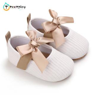Tootplay 1 Đôi Giày Em Bé, Giày Công Chúa Nơ Cotton Cho Trẻ Tập Đi Cho Bé 3-12 Tháng Tuổi