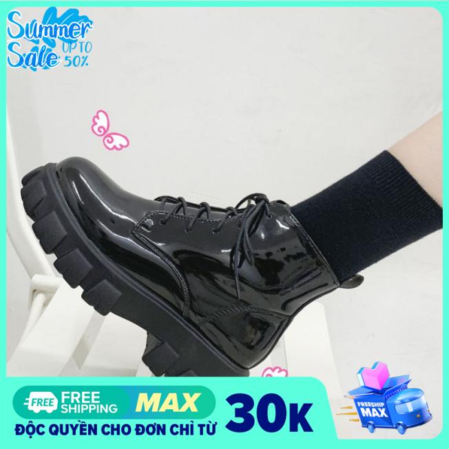 Giày boot nữ, Bốt nữ Cổ lửng Hàn Quốc Đế cao 5cm Chất liệu da mềm, mang êm chân Hợp khi phối cùng Váy ngắn giá rẻ