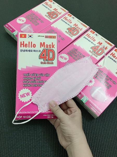 [Cho bé từ 14 tuổi trở lên + người lớn] Hộp 10 cái khẩu trang 4D HELLO MASK màu trắng/hồng PM2.5 ngăn virus, sản xuất theo công nghệ Hàn Quốc/10 pcs 4D mask PM2.5 - pink or white