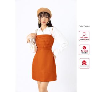 Váy hai dây dáng ôm 20AGAIN, thiết kế xếp nếp nữ tính, chất tuýt si cao cấp DEW1086 thumbnail