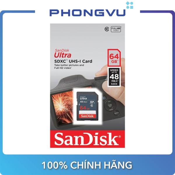 Thẻ nhớ SDXC Sandisk 64GB (class 10) Ultra - Bảo hành 84 tháng