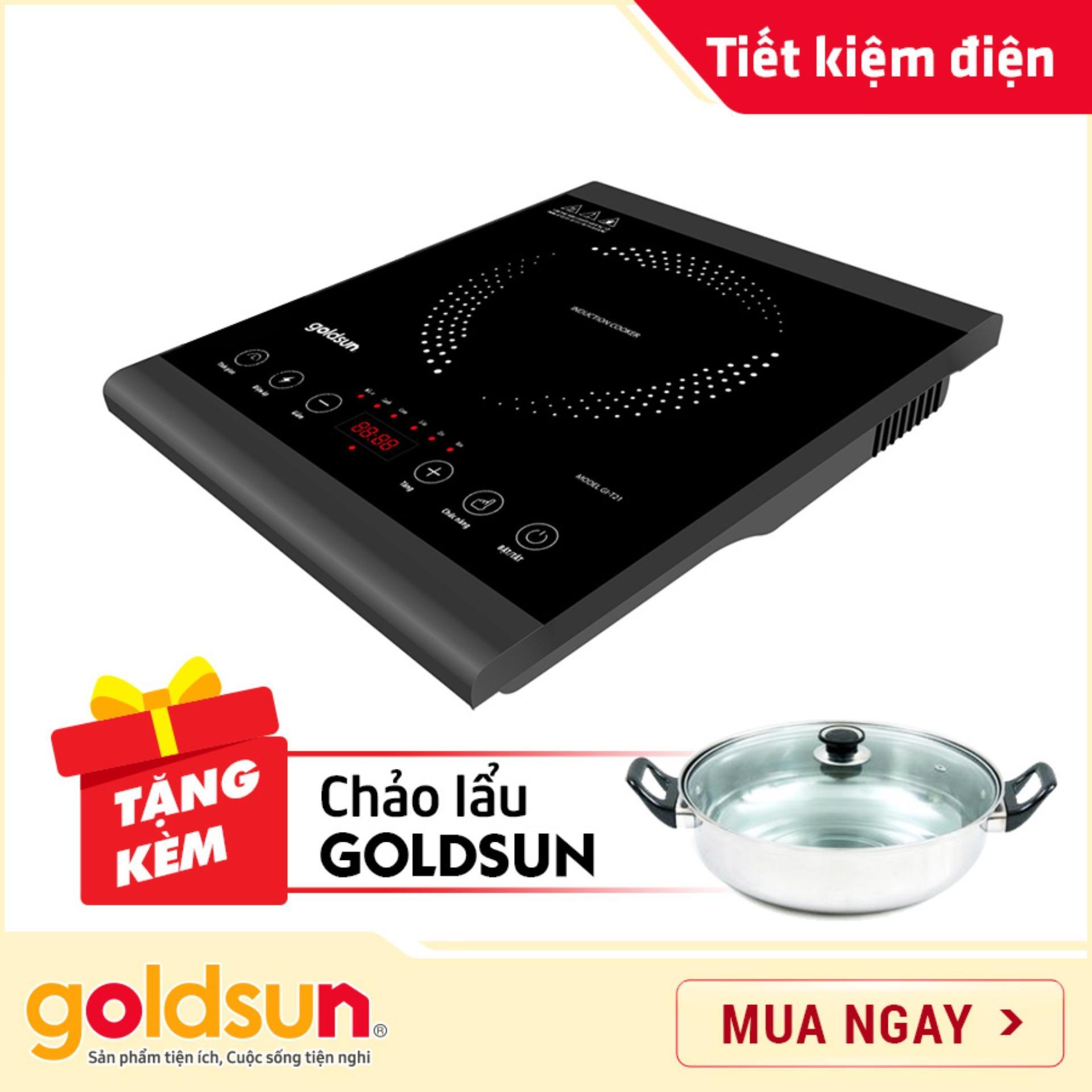 Giá Quá Tốt Để Có Bếp điện Từ Goldsun GI-T21 - Mặt Cảm ứng - Công Suất  1400W - Bảo Hành Toàn Quốc 1 Năm - Tặng Nồi Lẩu đa Năng