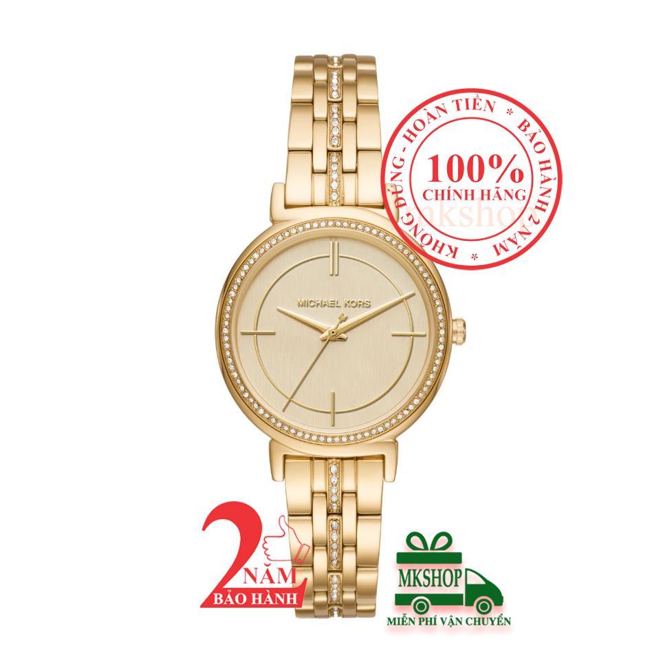 Nơi bán Đồng hồ nữ Michael Kors Cinthia MK3681, Vỏ, mặt và dây màu Vàng (Gold), viền đá pha lê Swarovski, size 33mm - Model: MK3681