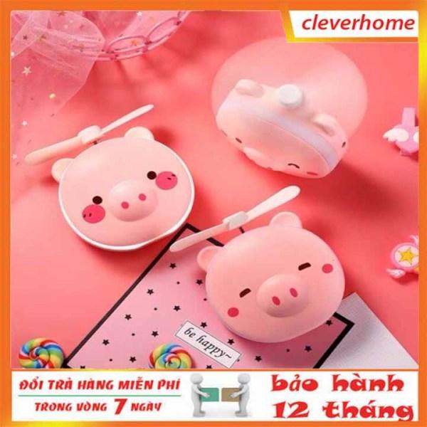 Quạt mini cầm tay, quạt  mini có đèn LED kèm gương 3 trong 1 hình con lợn hồng dễ thương
