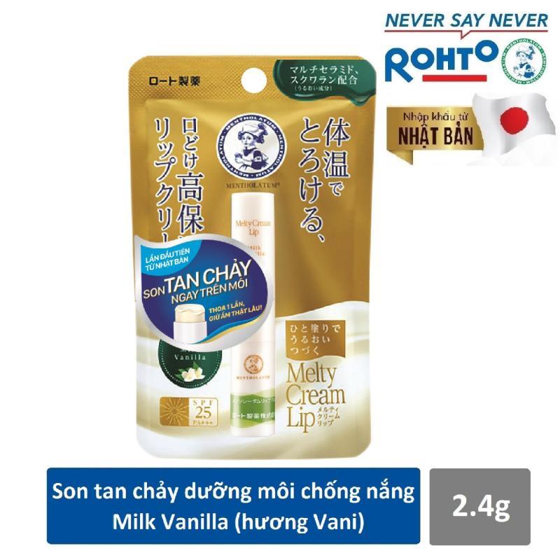 Son tan chảy dưỡng môi chống nắng Mentholatum Melty Cream Lip SPF25, PA+++ Milk Vanilla 2.4g (hương Vani)