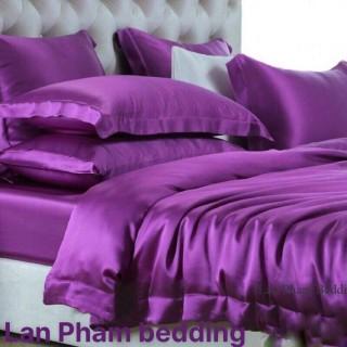 Ga - Drap Giường Lẻ Phi Lụa Lan Pham Bedding - Màu Tím Huế thumbnail