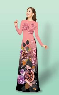 Áo dài truyền thống Mai Lan in hồng ngoài Juliet cao cấp - KHÔNG KÈM QUẦN thumbnail