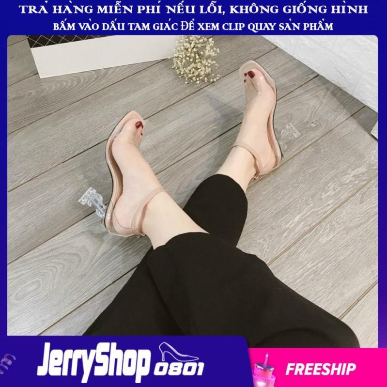 Giày nữ sandal cao gót 9 phân quai trong gót trong chữ S siêu đẹp giá rẻ