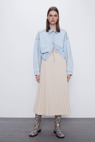 Váy Xếp Ly Nữ Zara Pleated Skirt Trf Cream