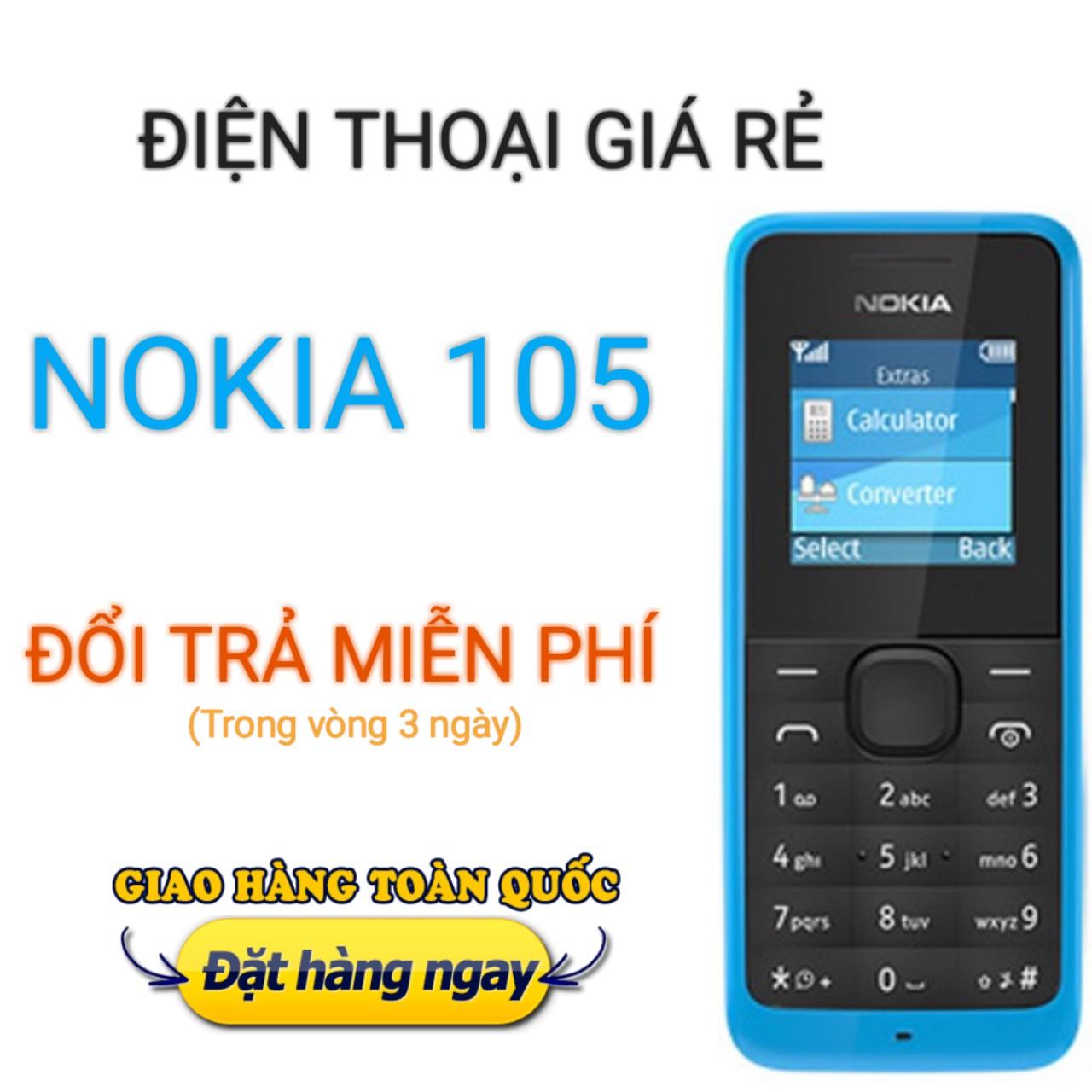 Điện thoại giá rẻ 1 SIM, Nokia 105 chính hãng, gồm Pin + bộ sạc