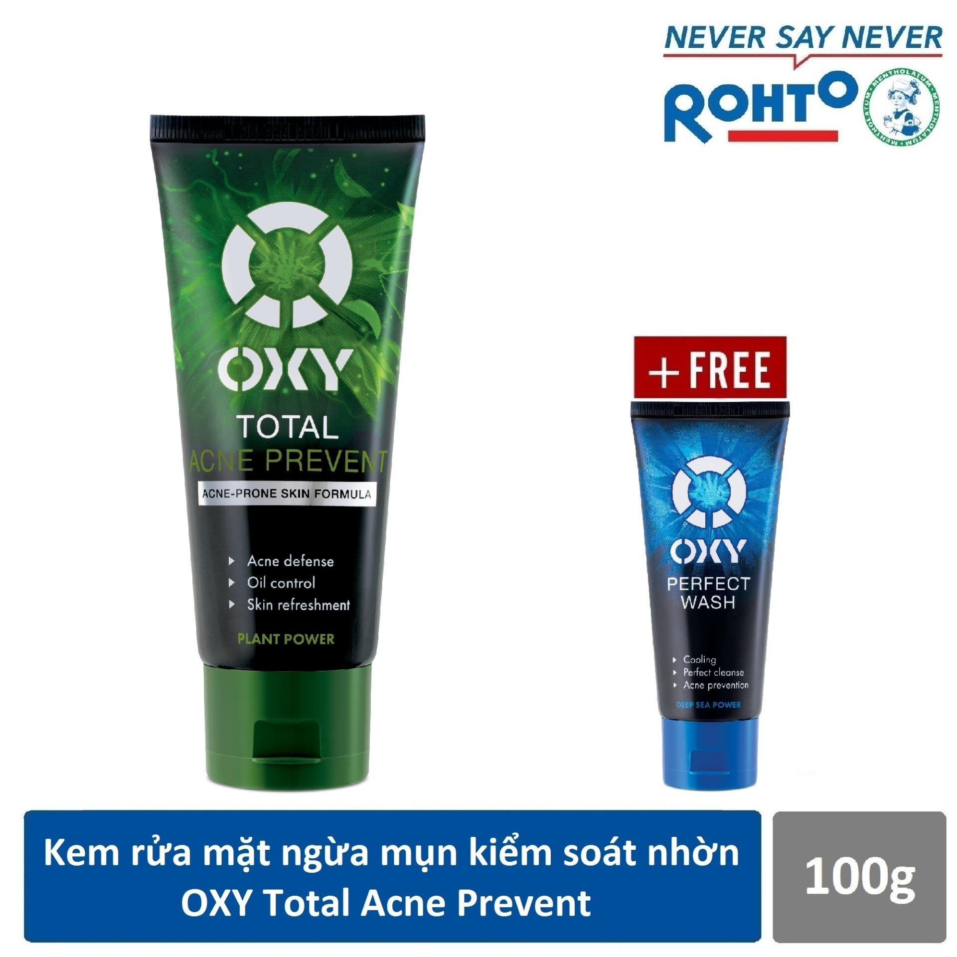 Kem rửa mặt ngừa mụn kiểm soát nhờn OXY Total Acne Prevent 100g + Tặng Kem rửa mặt mát lạnh OXY Perfect Wash 25g