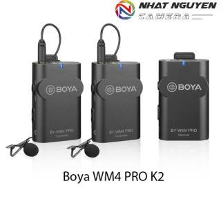 Micro không dây Boya WM4 PRO K2 / Mic cài áo BY WM4 PRO K2 - Bảo hành 12 tháng