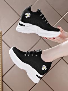 Giày độn đế nữ HAPU vải dệt thoáng khí cao 8cm Hoa Cúc Hot trend mới nhất 2021 ( đen , trắng ) thumbnail