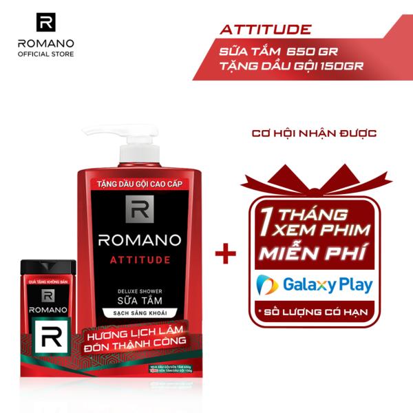 Sữa tắm Romano Attitude nồng ấm cá tính sạch sảng khoái 650gr - Tặng dầu gội Romano Attitude 150g