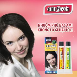 Nhuộm phủ bạc dược thảo Ami Seven Speedy Permanent Hair Color (60g 60g) nhanh 7 phút - Hàn Quốc- loại tiết kiệm- màu S7 - Đen tự nhiên thumbnail