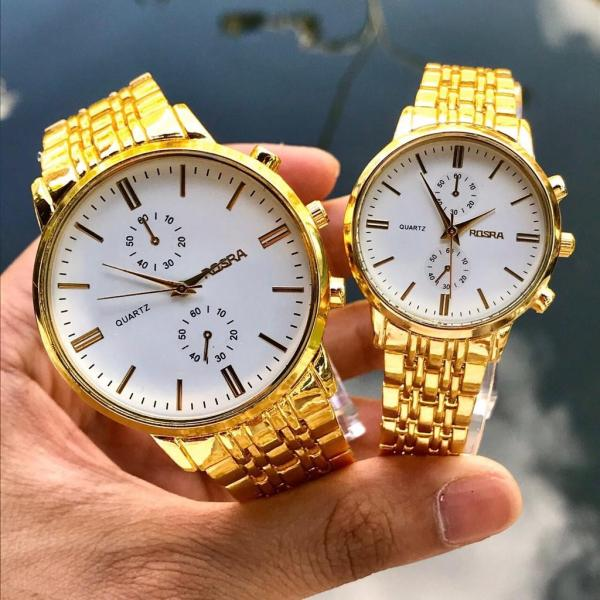 Đồng hồ thời trang nam nữ Rosra dây kim loại vàng sang trọng MS662