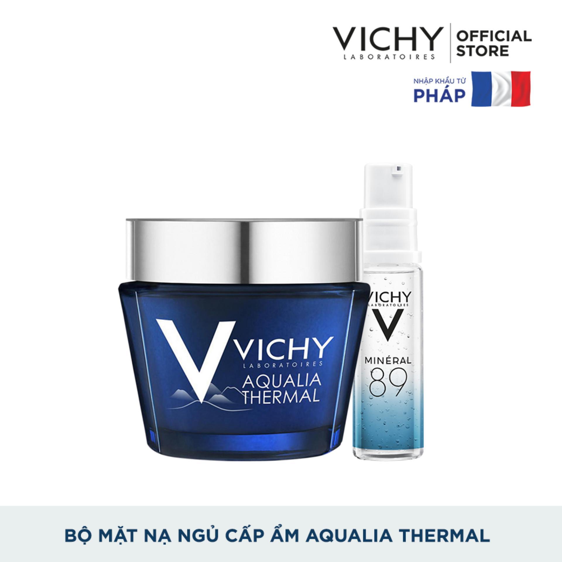 Bộ sản phẩm dưỡng kết hợp mặt nạ ngủ cấp ẩm và phục hồi da Vichy Aqualia Thermal Night Spa 75ml nhập khẩu