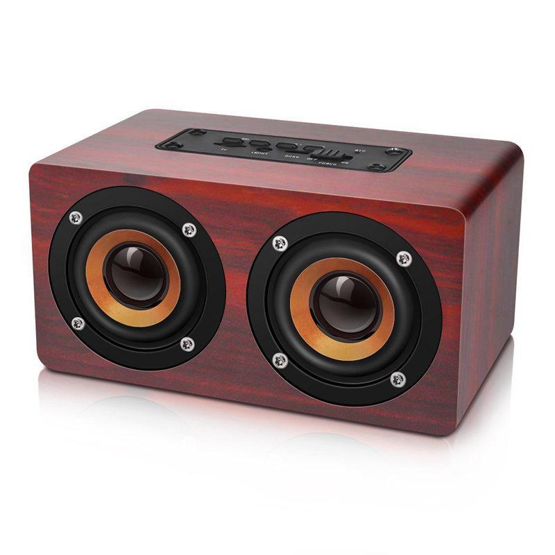 Retro Wooden Bluetooth Speaker HIFI Wireless Dual Loudspeakers 3D Surround Speaker, red Malaysia