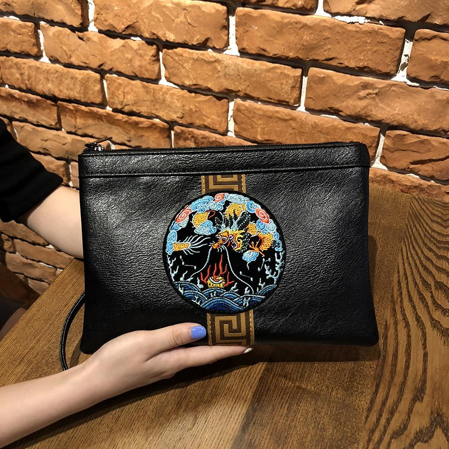 2019 New Style Clutch Female Embroidered Envelope Chinese-style Cool Girls Leisure Clutch Bag Korean Style Small Bag