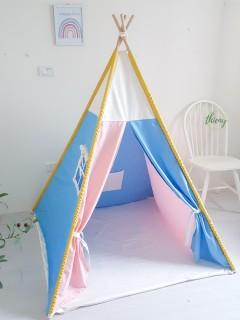 Lều vải cho bé trai bé gái - màu xanh hồng vải kaki cotton 100% cọc gỗ tự nhiên Lều trong nhà Ngoài trời Lều Thiên Ý thumbnail