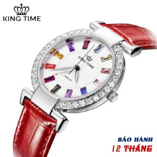 Đồng hồ nữ KING TIME Đính Đá Ruby Cầu Vòng, Mặt to nổi bật, Chống nước sinh hoạt thumbnail
