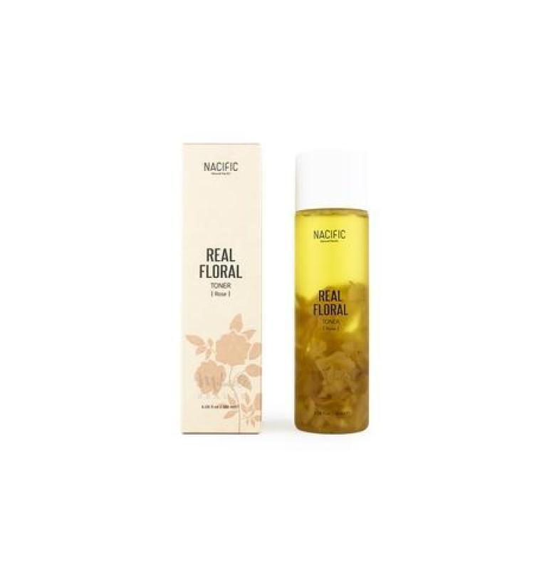Nước cân bằng dưỡng trắng da hoa hồng Nacific -REAL FLORAL TONER ROSE 180ml