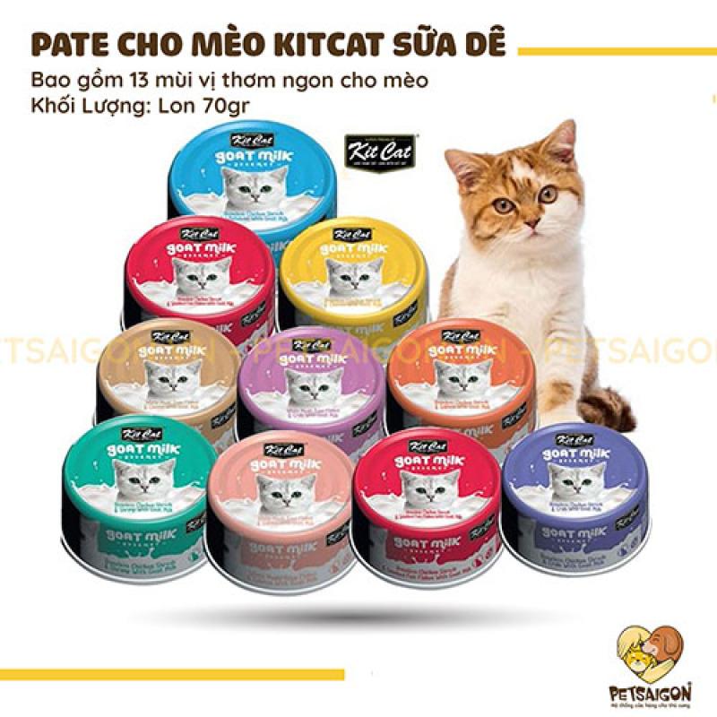 PATE KIT CAT SỮA DÊ CHO MÈO LON 70GR