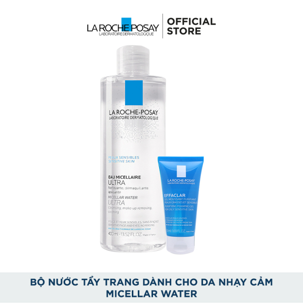Bộ sản phẩm nước tẩy trang sạch sâu giàu khoáng dành cho da nhạy cảm La Roche Posay Micellar Water Ultra Sensitive Skin cao cấp