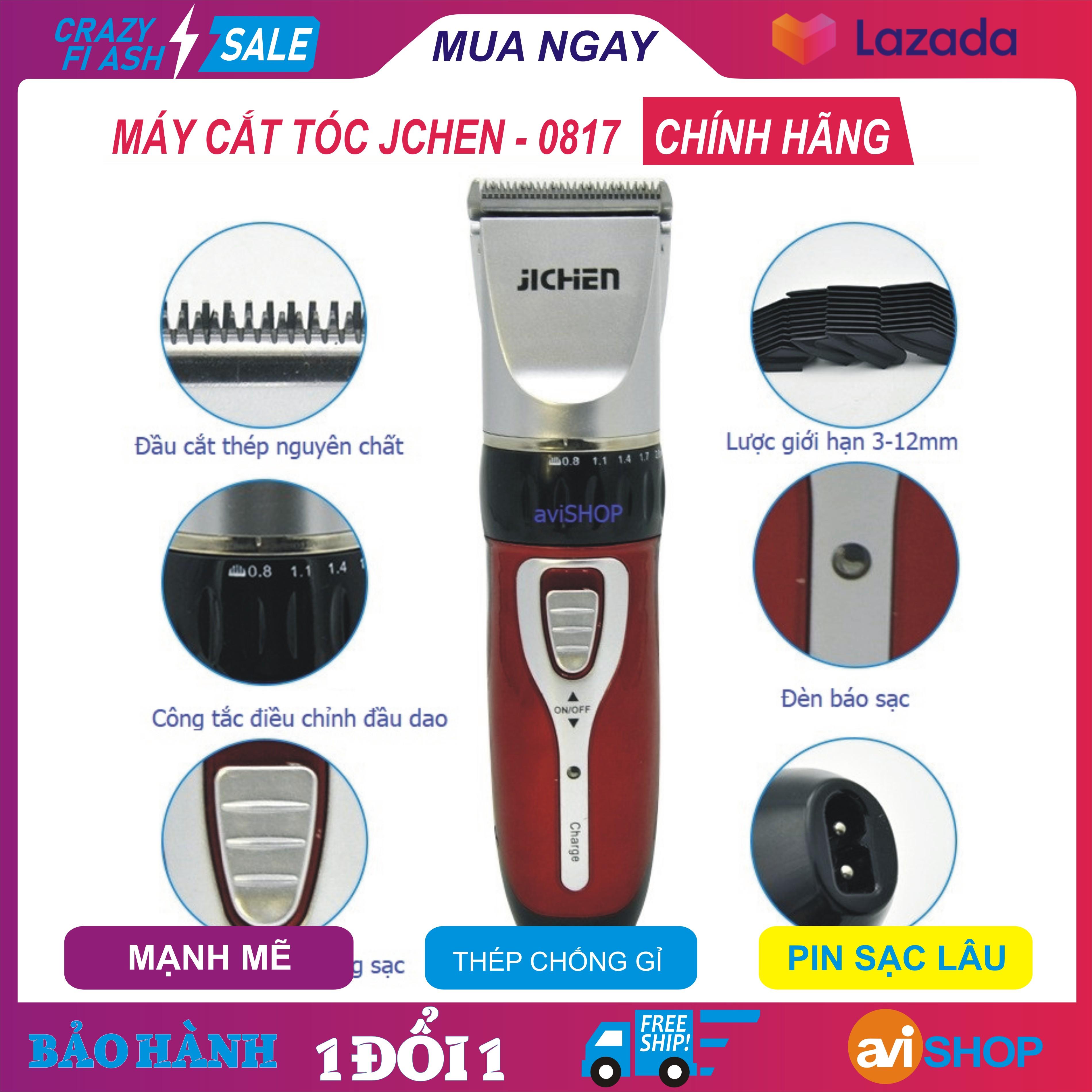 Máy cắt tóc Jichen – JC0817 (2 màu xanh , đỏ ), Tông đơ cắt  tóc trẻ em, Hàng chất thép không gỉ, pin sạc lâu, đầu cắt chuẩn, Giá SHOCk - aviSHOP cao cấp
