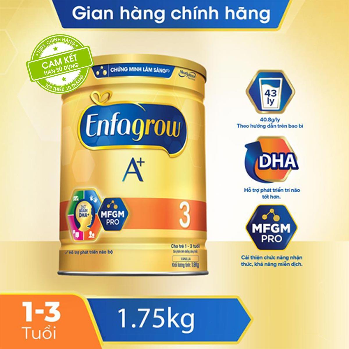 Coupon Ưu Đãi Sữa Bột Enfagrow A+ 3 Cho Trẻ Từ 1-3 Tuổi (1.75kg) - Cam Kết HSD Còn ít Nhất 10 Tháng