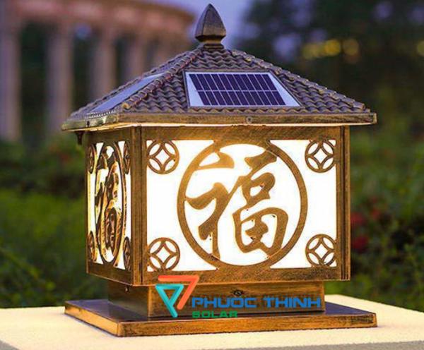 Đèn trụ cổng năng lượng mặt trời chữ Phúc trụ 40cm