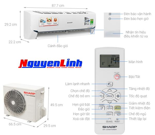 Bảng giá Máy lạnh Sharp Inverter 1 HP AH-X9XEW