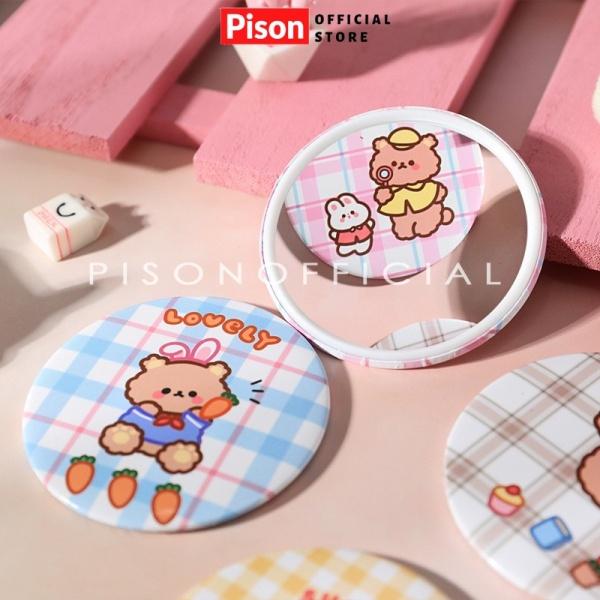 Gương mini trang điểm hình gấu caro Pison giá rẻ