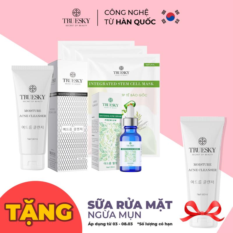 Bộ ngừa mụn da mặt Truesky Premium M02 gồm 1 serum ngừa mụn tràm trà 20ml + 1 sữa rửa mặt than hoạt tính 60ml + 3 miếng mặt nạ dưỡng da Truesky giá rẻ