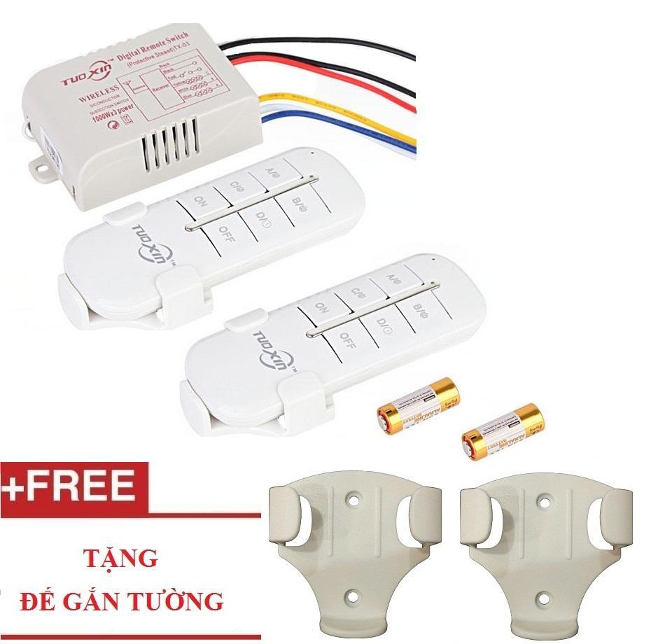 [ 2 điều khiển] Công tắc điều khiển từ xa 4 kênh TUOXIN - Hàng chất lượng cao TUOXIN