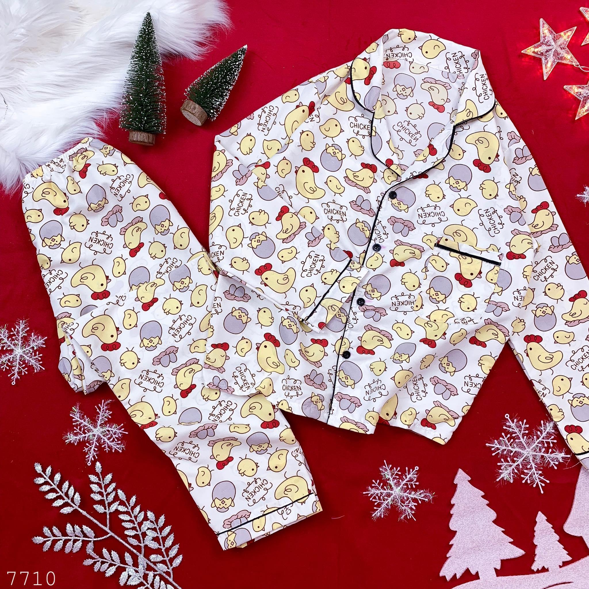 (Dưới 50 kg) Đồ Ngủ Nữ Bộ Pijama Dài Tay Kate Thái Loại 1 -Có Túi Quần-Ảnh Thật
