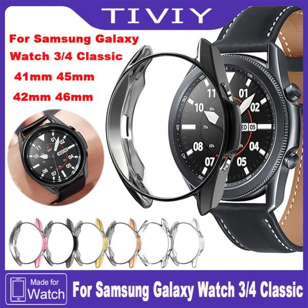 TIVIY Screen Protector Case For Samsung Galaxy Watch 4 Classic 42mm 46mm Smart Watch Ultra-thin Soft Full Screen Case For Samsung Galaxy Watch 3 Full Coverage Plating Shell TPU Protective Cover Case