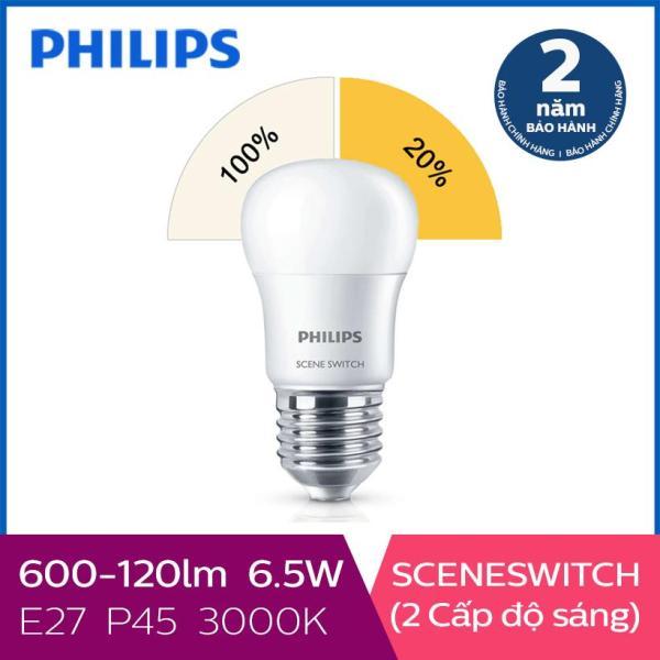 Bóng đèn Philips LED Scene Switch 2 cấp độ chiếu sáng 6.5W 3000K E27 P45 (Ánh sáng vàng)